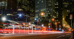 westcat (pbo31) Tags: california bayarea night nikon d810 september 2016 summer boury pbo31 dark black color sanfrancisco city lightstream motion traffic temporary transbay bus terminal financialdistrictsouth urban