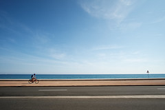 Le Cycliste (fredMin) Tags: bicycle mediterranean sea color travel fuji xt1 fujifilm samyang 12mm
