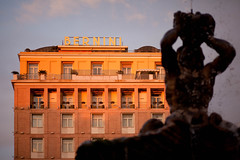 Facade (Hotel Bernini at Sunset), Roma (flatworldsedge) Tags: rome roma fountain architecture bristol hotel shadows piazza deco bernini barberini latesun yahoo:yourpictures=yoursummer yahoo:yourpictures=mytravels