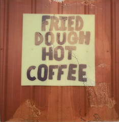 FRIED DOUGH HOT COFFEE (abdukted1456) Tags: ny newyork sign manipulated polaroid sx70 manipulation fair tip integral countyfair impossible landcamera frieddough schaghticoke instantfilm hotcoffee v4b testfilm colorshade px70 schaghticokefair