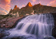 Cirque of the Towers Waterfall, Wind River Range, Wyoming (Chip Phillips) Tags: sunset summer mountains river waterfall wind rocky falls backpacking backcountry wyoming range