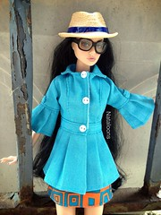 End of Summer (Nataloons) Tags: blue orange hat sunglasses fashion hair toys inch doll long lashes dress coat vinyl straw poppy pout 12 parker happening rooted integrity