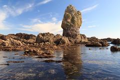 Long Rock (Keith in Exeter) Tags: uk sea england seascape southwest water reflections landscape coast rocks shoreline calm coastal devon shore maritime lowtide tidal rugged bantham