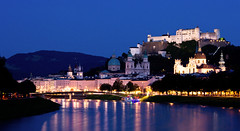 Living in a Fairytale, Salzburg, Austria (Sangy23) Tags: city blue lake salzburg water skyline architecture fairytale night austria nikon europe lee cassandra magical centraleurope d3100 nikond3100 sangy23 cassphotography