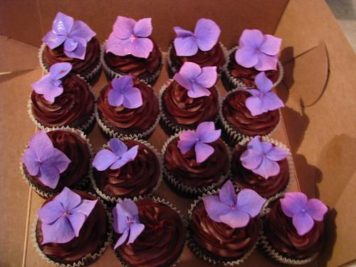 Purple Hydrangeas and Chocolate cupcakes