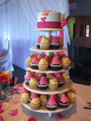 Creamy Yellow and Fuschia wedding tower