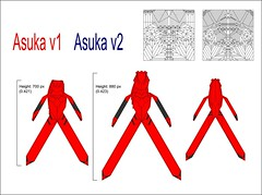 Asuka Comparison V1 and 2 (shuki.kato) Tags: paper origami fold comparison asuka tutorial evangelion