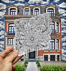 Pencil Vs Camera - 71 (Ben Heine) Tags: windows brussels plants cloud money building brick art architecture pencil work computer paper photography corporate sketch 3d construction energy colorful factory hand hole belgium belgique drawing earth mixedmedia surrealism space web capital explosion creative entrance www brain dessin superman collection business company story masks illusion urbanexploration agency brainstorming bulbs imagination series worker canon5d punch 2d society ideas hang technologies faade trou dollars freelance ordinateur flexibility markii fentres belge augmentedreality surralis