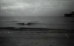 x (nikkidelmont) Tags: ocean sea blackandwhite texture film dark pier waves moody maryland easternshore instax 210 delmarva fugi northeastshore