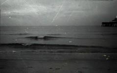 x (nikkidelmont) Tags: ocean sea blackandwhite texture film dark pier waves moody maryland easternshore instax 210 delmarva fugi northeastshore