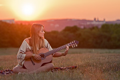 Without music, life would be a mistake. (chris zerbes) Tags: sunset portrait music girl canon germany dof emotion bokeh guitar outdoor song depthoffield stephanie shooting wrzburg outdoorportrait outdoorshooting canon70200mmf28isii
