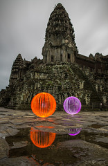 Ball of Light Cambodia - Unbelievable! (biskitboy) Tags: lightpainting reflection clouds reflections temple cambodia angkorwat temples 24mm siemreap balloflight 24mm14 5dmkiii 5dmk3