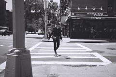 2012-0606-1100 (t-a-i) Tags: road street nyc newyorkcity people bw woman newyork us lomo lca crossing unitedstates iso400 lomolca fujifilm neopan zebracrossing oldhat fujineopan400cn