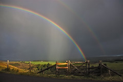 The Rainbow Gate - 1 (me'nthedogs) Tags: sunlight rain rainbow gate doublerainbow exmoor