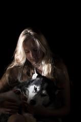 Lovely girls (motejowi) Tags: portrait dog black girl animal dark puppy kid furry puppies husky child background highcontrast huskies human karolina goya kasia strobist fa7718limited pentaxk5 metz50af1
