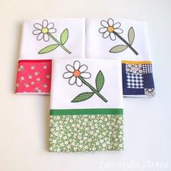 É Primavera... estação das flores! (Lavanda Artes) Tags: flores primavera casa toalha decor margarida cozinha guardanapo louça chádecozinha chádepanela enxoval panodeprato patchaplique