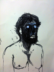 9-23-2012, Watchin' you (dorkthrone) Tags: portrait white selfportrait man art me face ink self paint darkness drawing live gothic figure they