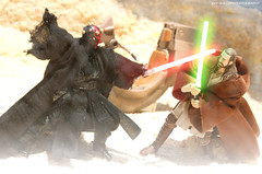 The First Encounter (Clarkent78) Tags: toy toys actionfigure starwars actionfigures jedi lightsaber sith darthmaul diorama hasbro tatooine jediknight phantommenace lucasfilms toyphotography starwarsepisode1 toydiorama clarkent78 jeffquillope starwarsdiorama thephantonmenace