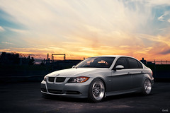 2008 BMW 335xi (Explored) (Evano Gucciardo) Tags: light sunset sky newyork art car composite clouds silver 50mm twilight nikon european euro details low wheels sharp rochester german commercial bmw editing rims tones slammed stance d800 ccw autoart worldcars 335xi