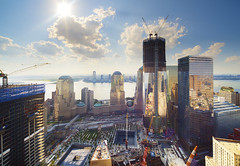 (Tony Shi.) Tags: world new york city nyc ny tower rooftop river four one freedom 1 waterfall construction memorial view 4 911 over hilton progress 7 ground center millennium national wtc hudson trade zero footprint wfc  2011