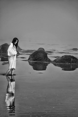 morning mist 2 (Louis-8) Tags: ocean blackandwhite woman usa white black reflection art beach nature water girl beauty fashion fog contrast japanese blackwhite model artist maine calligraphy potrait arcadia barharbor michikoimai louis8 fromyoutous