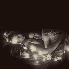 Day Three Hundred Twelve (XeniaJoy) Tags: selfportrait love reunion tattoo night self square lights husbandandwife husband christmaslights nighttime 365 fairylights deployment 365days armywife