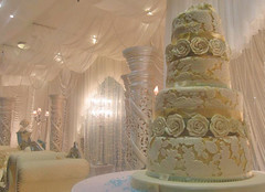 Ivory & Gold Embossed Wedding Cake