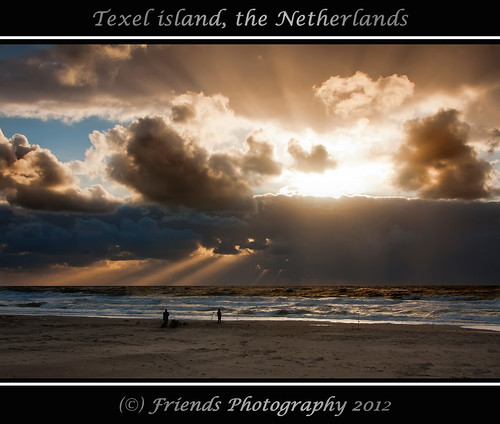 fishing by a sunset on Texel Island