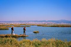 (CrippleHorse) Tags: sea landscape fishing thessaloniki nikonfe2 riverdelta kodakektar kalochori