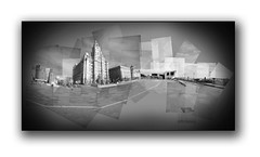 Liverpool Waterfront Panograph. (pete_tography) Tags: new old city uk greatbritain england urban blackandwhite bw panorama building english heritage history architecture modern liverpool buildings mono northwest cities panoramic historic threegraces mersey merseyside liverbuilding stitcher 3graces petecarroll panograph portofliverpoolbuilding cunardbuilding petercarroll beatlesmuseum liverpoolwaterfront greatbritish museumofliverpool petetography