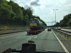 Class 26 D5310 - Tuesday 26th July 2016 (Paul.Bevan) Tags: trainsontrucks lorries allelysheavyhaulage m40 motorway traintransportation dieselloco classic vintage britishrail class26 d5310 greatcentralrailway scottish highland operations stgo cat3 mercedessprinter ontheroad cabview interestingthingsseenontheroad train lowloader br heritage green escortvehicle heavyload haulage transport specialistjob trainspotting