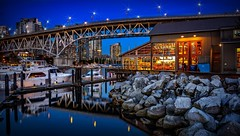 Shooting the blues (Images by Christie  Happy Clicks for 2016!) Tags: granvilleisland bluehour vancouver bc canada boats yachts granvillebridge granvillestreetbridge rocks boulders stillness peaceful water falsecreek dslr