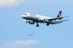 2 planes (Wolfgang Binder) Tags: aircraft aircrafts jet jets plane planes airplanes airplane planespotting nikon d7000 sky flying lufthansa fra frankfurt landing approach approaching a321 daisj