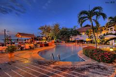 Buffet Dinner by the pool (Ken Goh thanks for 2 Million views) Tags: batam nongsa resort buffet dinner blue hour night coconut tree swimming pool pentax k1 sigma 1020