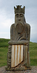 'The King' (The Lewis chessmen) Uig beach Scotland (David Russell UK) Tags: chess piece king lewis chessmen men viking historic history uig ands beach isle outer hebrides scotland outdoor statue marker location famous