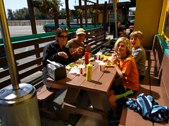 Happy burger time at Sylvester's (cmrowell) Tags: petra matthew matthew11 jeremy jeremy9 chris oceano sylvesters burgers california