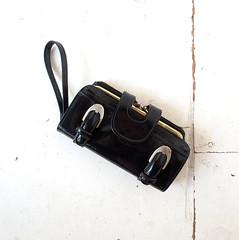 1960s shiny black buckled wristlet wallet (Small Earth Vintage) Tags: smallearthvintage vintagefashion vintageaccessories wallet clutchpurse wristlet 1960s 60s black buckles