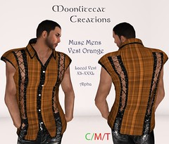 Muse Mens Vest Orange Ad Pic (moonlitecat) Tags: hunt your inner slut moonlitecat creation mesh slink belleze maitreya fimesh rigged high heel collar gacha spikes leather punk skirt haltertop halter top laced vest mens men women womens moon moonlite hudded texture change