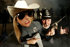 Deputy Dora Delaney and Constable Campbell respond to Charlotte North Carolina (Studio d'Xavier) Tags: deputydoradelaney constablecampbell riots charlottenorthcarolina police protests 365 september222016 266366 prooptic8mm35 fisheye wideangle