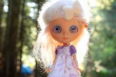 She greets the morning sun (jessi.bryan) Tags: trip camping washington doll blythe gbaby customblythe mohairblythe wingsinflight sunrisewashington pinkpetalberet gbabycustom