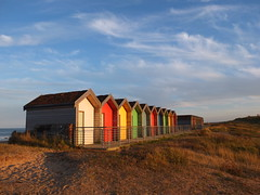 Blyth Beach Huts (Phil 'the link' Whittaker (gizto29)) Tags: light sunset clouds fuji retro northumberland beachhuts blyth x10 sooc blythbeach footprintswriststrap