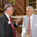 Interim chancellor Dr. Jim Woodward and Bill Friday chat prior to the ribbon-cutting ceremony of the newly renovated Thompson Theatre.OPA.WoodwardFriday.0057 copy