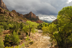 The Watchman and the Virgin River, Zion National Park, Utah (jimf_29605) Tags: rain utah nikon 1855mm zionnationalpark d7000