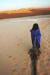 sahara (frau pfeffer) Tags: blue orange mountain man guy sahara animal yellow sand ride desert dunes dromedary camel morocco maroc nomad mann caravan reiten tier kamel touareg wste fhrer dnen marroco merzouga dromedar marroko