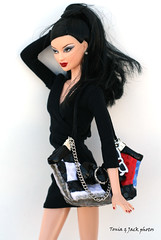 Urban chic in black with a pinch of red (Tonia & Jack) Tags: red black asian dress handmade barbie windy collection lea accessories kayla basics 001 habilisdolls