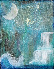 to the moon and back (Sigrid Klop) Tags: sky naturaleza moon art nature water painting stars landscape waterfall mixedmedia pastel wave aurora sigrid cascade starts acryllic northernlights auroraborealis sigridklop