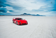 Ferrari F40 | Bonneville Salt Flats (Folk|Photography) Tags: blue red sky white storm clouds photography utah desert folk empty salt automotive ferrari flats gil desolate bonneville f40 worldcars