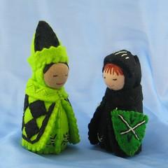 Diamond Wizard with Green Knight Oct12 (Alkelda) Tags: black green toy doll wizard naturetable naturalkids diamondpattern