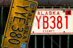 license plates (grantrans8877) Tags: old red art metal alaska truck vintage automobile peeling paint antique painted grunge rusty grill licenseplate rusted dodge hood plates cracked landtransportation