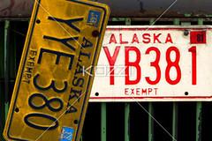 license plates (grantrans8877) Tags: old red art metal alaska truck vintage automobile peeling paint antique painted grunge rusty grill licenseplate rusted dodge hood plates cracked landtransportation